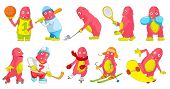 Постер, плакат: Set of cute big pink monsters wearing uniform and using sports equipment Monsters playing hockey b