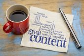 great content writing word cloud on a napkin with a cup of coffee, business writing and content mark poster