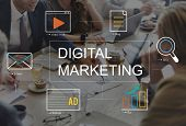 Digital Marketing Media Technology Graphic Concept poster
