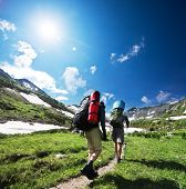 picture of mountain-climber  - Hikers in mountains - JPG