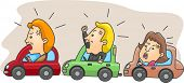 stock photo of pissed off  - Illustration of Angry Motorists Caught in a Traffic Jam - JPG