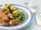 Chicken Goujons with Herb Buttered New Potatoes and Green Vegetables