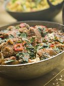 pic of indian food  - Karai Dish with Lamb Methi Gosht and Vegetable Pilau - JPG