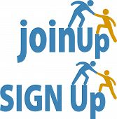 image of joining  - Member helps a person sign up to join a group company or website icons - JPG