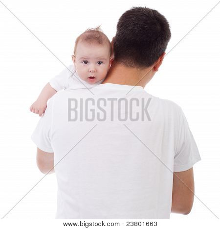 Baby Looking Over Father's Shoulder