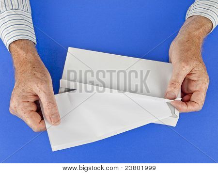 Man Putting Letter Into White Envelope, Blue Textured Vackground