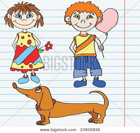 Girl With Flower, Boy And Dog