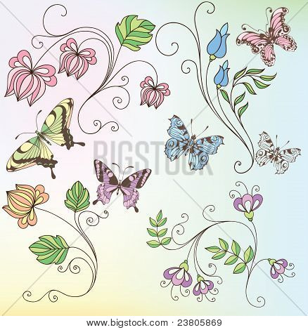 Set Of Flowers And Butterflies