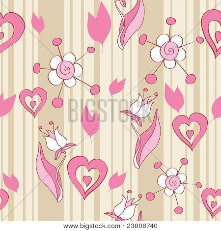 Pink Floral Seamless Background