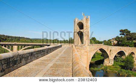 A view of the medieval bridge of Besalu, Spain