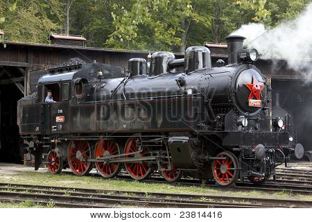 steam locomotive, depot Luzna u Rakovnika, Czech Republic