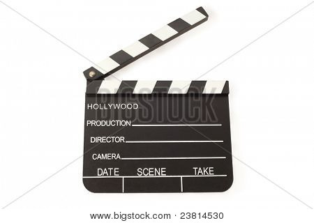 Open Film Slate (Clapper board) on white background; empty space for inscriptions