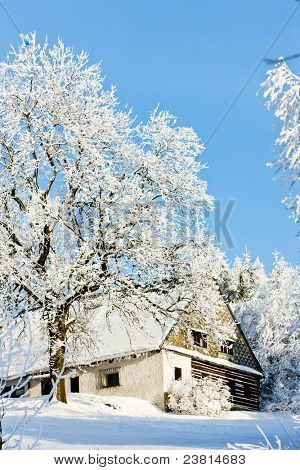cottage in winter, Jeseniky, Czech Republic