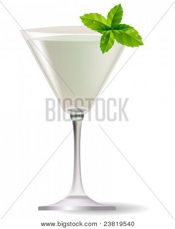 Cocktail with mint leaves isolated on white background. Raster version.