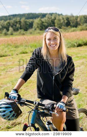 Mountain Biking Young Woman Sportive Sunny Meadows