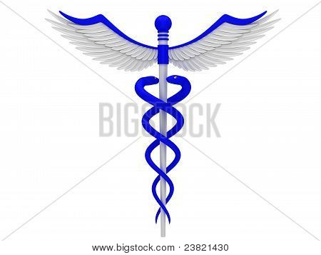 Blue caduceus medical symbol