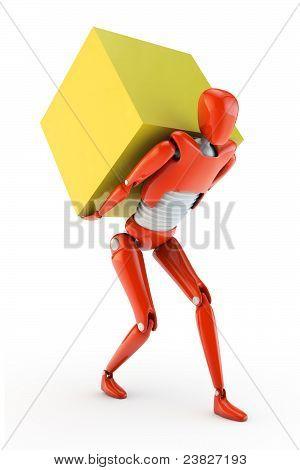 Robot delivering a big box