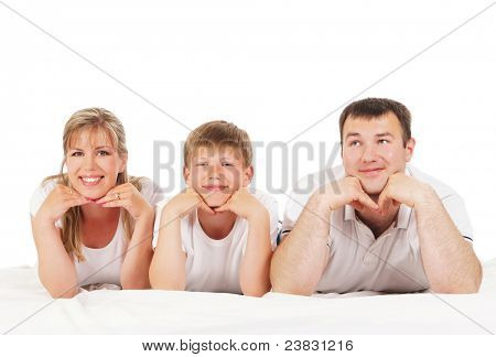 Happy family isolated over white background