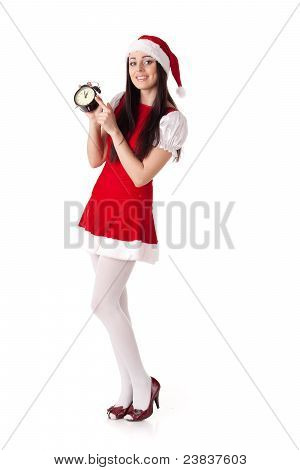 Christmas Girl With Alarm Clock.