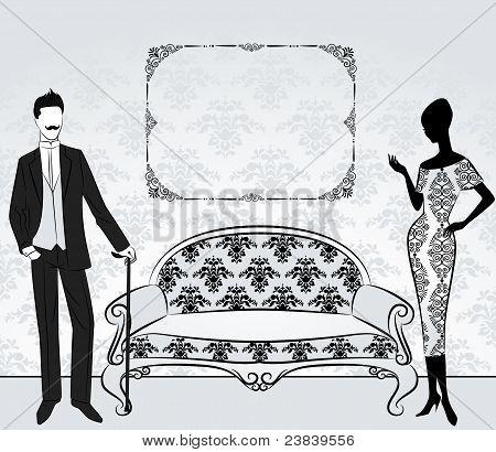 Vintage Silhouette eines Mädchens mit einem Mann im Innern