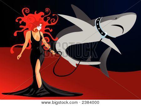 Girl And Shark.Eps