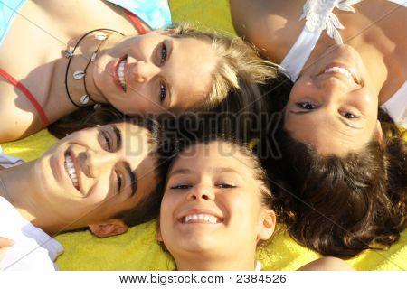 Happy Smiling Teen Group
