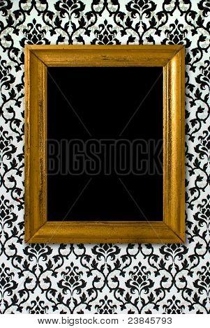 Marco de oro sobre un fondo de pantalla en blanco y negro