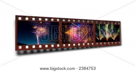 Filmstrip Of A Celebratory Fireworks