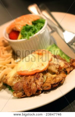 chicken chop with fruits salad