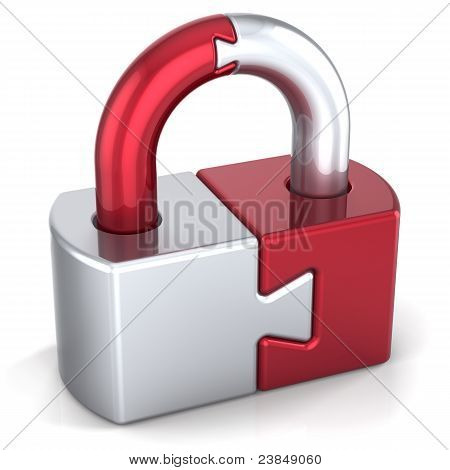 Lock padlock security safeguard puzzle key icon