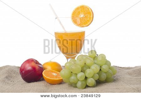 Glass Of Orange Juice Isolated Tropical Fruits