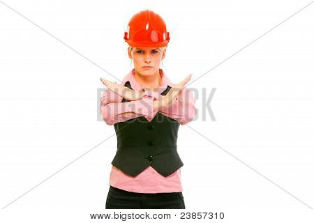 Modern Architect Woman Showing Stop Gesture