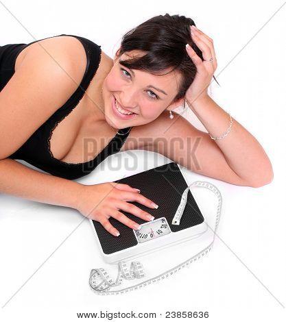 Picture of happy woman with bathroom scale.
