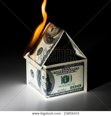 Burning house, made from dollars