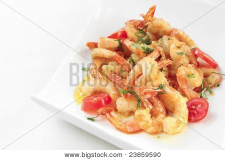 a dish of fried shrimps