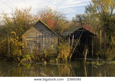 Old Boatshed In Autumn