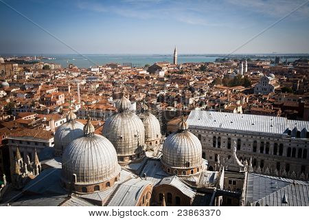 View Of St Mark's Basilica From The Campanile Tower