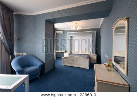 Blue Bedroom Interior