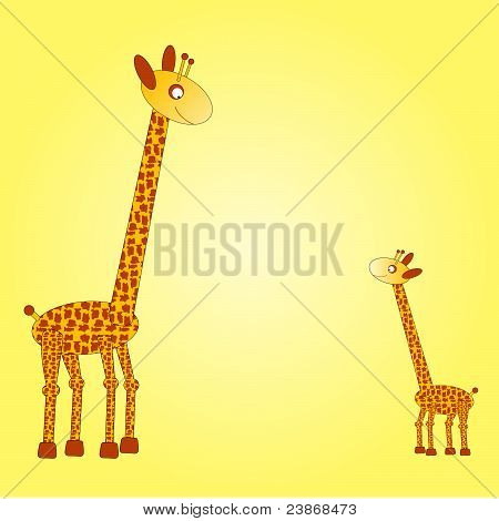 Big and small giraffe on the yellow background