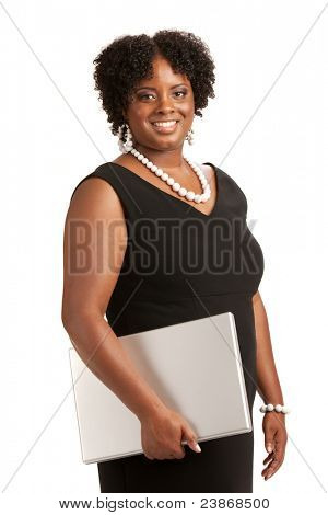 Cheerful Plus Size Businesswoman Holding Laptop Computer Standing Isolated on White Background