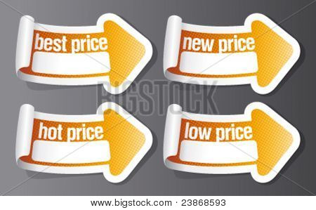 Best price stickers in form of arrow.
