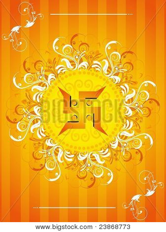 vector floral design with swastika concept for traditional indian festival