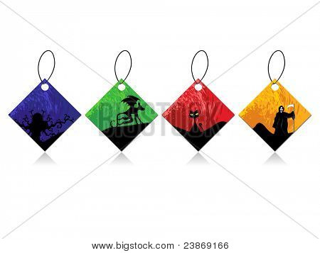 collection of colorful halloween concept tags on white background