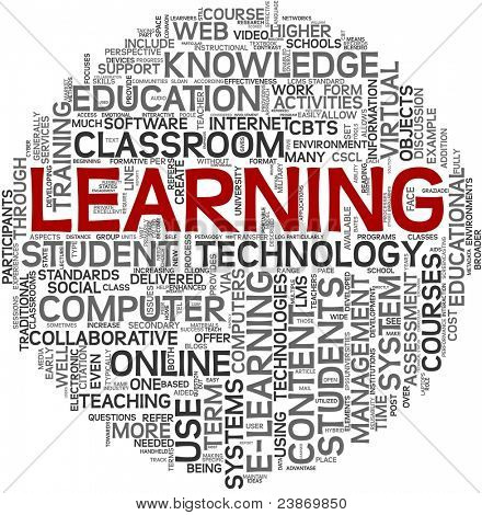 Learning concept in tag cloud on white background