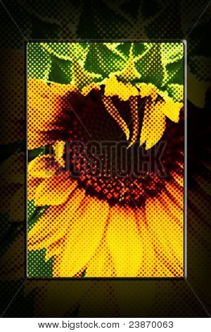 Abstract Sunflower Halftone Artwork