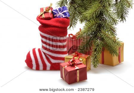 Christmas Stocking And Presents
