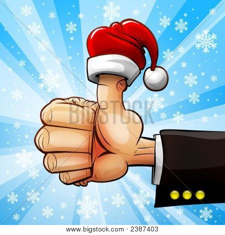 Christmas Businessmens Hand With Thumb Up