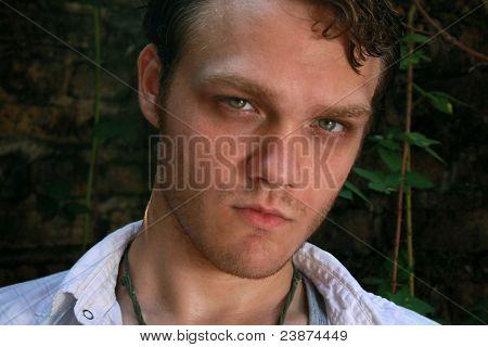 A Closeup Of An Intense Man
