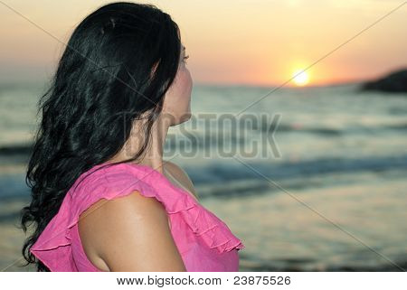 Woman Admire Sunset At Sea