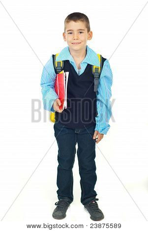Happy Schoolboy With Notebooks